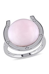 Sterling Silver Diamond And Opal Ring Pink