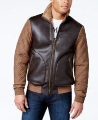 Armani Jeans Leather Quilted Fleece Jacket Chestnut