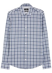 Hugo Boss Black White And Blue Checked Cotton Shirt Navy