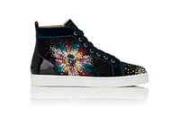 Christian Louboutin Men's Louis On Fire Suede High Top Sneakers Black