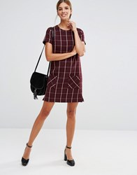 New Look Check Shift Dress Burgundy Red