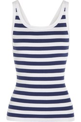 Dolce And Gabbana Striped Knitted Silk Tank Storm Blue