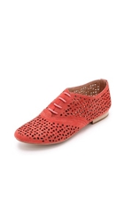 Matiko Firth Cutout Suede Oxfords Red
