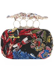 Alexander Mcqueen 'Knuckle' Beaded Wonderland Short Clutch Black