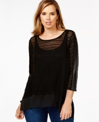 Alfani Plus Size Mixed Media Lacy Knit Top Only At Macy's Deep Black