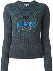 Kenzo 'Tiger' Cable Knit Jumper Grey
