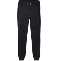 Balmain Slim Fit Tapered Loopback Cotton Jersey Sweatpants Navy