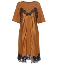 Maison Martin Margiela Silk And Cotton Slip T Shirt Dress Brown