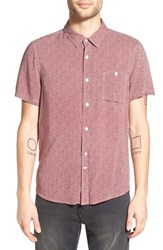 Native Youth Men's Print Short Sleeve Woven Shirt Burgundy White