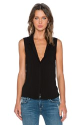 Splendid Rayon Voile Button Up Tank Black