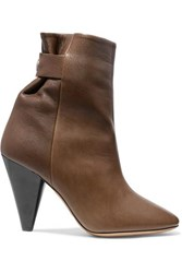 Isabel Marant Lystal Leather Ankle Boots Brown
