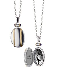 Monica Rich Kosann Sterling Silver And 18K Yellow Gold Locket Necklace 32