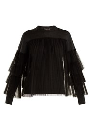 Muveil Pleated Tulle Embellished Wool Sweater Dark Grey