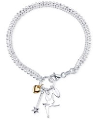 Disney Two Tone Tinker Bell Charm Bracelet In Sterling Silver And 14K Gold Plated Sterling Silver