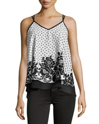 Romeo And Juliet Couture Chiffon Floral Print Racerback Tank White Black