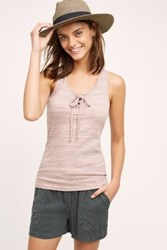 Anthropologie Lace Up Racerback Tank Pink