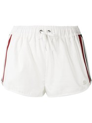Moncler Gamme Rouge Drawstring Stripe Panel Shorts White