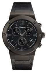 Salvatore Ferragamo Men's F80 Chronograph Leather Strap Watch 44Mm Gunmetal Black Gunmetal