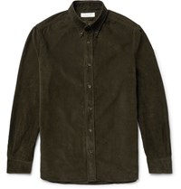Several Watts Button Down Collar Cotton Corduroy Shirt Army Green