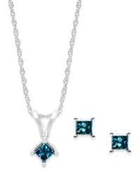 Macy's 10K White Gold Blue Diamond Necklace And Earring Set 1 4 Ct. T.W.