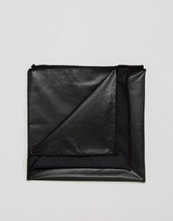 Asos Faux Leather Pocket Square In Black Black