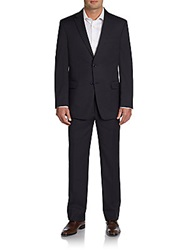 Tommy Hilfiger Trim Fit Striped Worsted Wool Suit Navy