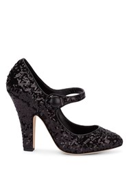 Dolce And Gabbana Black Sequin Court Shoes