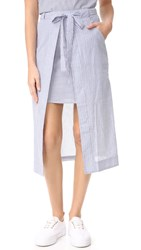 J.O.A. Stripe Midi Skirt White Blue