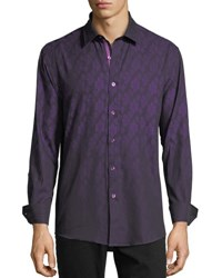 1 Like No Other Medallion Print Sport Shirt Purple