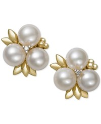 Belle De Mer Cultured Freshwater Pearl 6Mm And Diamond Stud Earrings In 14K Gold Only At Macy's White