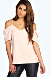 Boohoo Woven Strappy Open Shoulder Blouse Nude