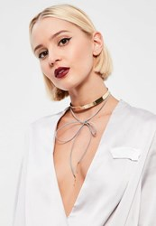 Missguided Gold And Grey Metal Plate Choker Necklace