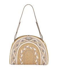 Eric Javits Jiva Straw Half Moon Shoulder Bag Brown Pattern