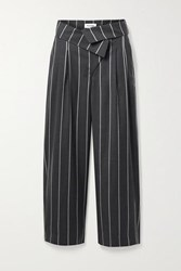Monse Fold Over Pinstriped Wool Wide Leg Pants Anthracite