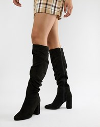 London Rebel Rouched Over Knee Boot Black Micro