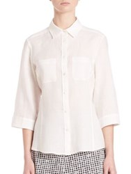 Max Mara Giulio Linen Button Down Shirt White