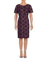 Adrianna Papell Embroidered Floral Sheath Dress Plum Wine Tan