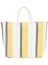 Truss Nyc Striped Woven Tote Women Acetate One Size White