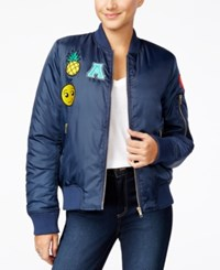 Say What Juniors' Patched Bomber Jacket Dress Blue