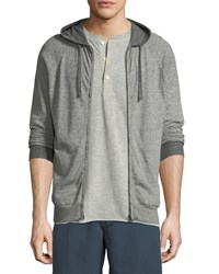 Billy Reid Whit Heathered Knit Zip Front Hoodie Gray