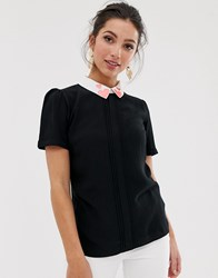 Oasis Tee With Embroidered Collar In Black