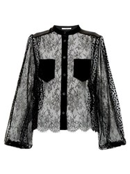 Givenchy Floral Embroidered Lace Blouse Black