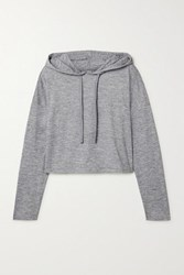 We Me The Zen Cropped Stretch Jersey Hoodie Gray
