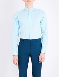 Eton Polka Dot Cotton Shirt Blue