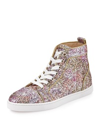 Christian Louboutin Bip Bip Glitter Aquarium High Top Sneaker Rosette