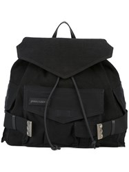 Dsquared2 Military Backpack Women Cotton Linen Flax Calf Leather One Size Black