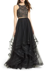 La Femme Women's Embellished Lace Two Piece Gown