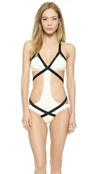 Vitamin A Opposites Attract Olivia Monokini White Black