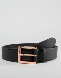 Asos Smart Leather Belt With Rose Gold Buckle Black