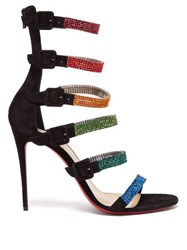 Christian Louboutin Raynibo Crystal Embellished Suede Stiletto Sandals Black Multi